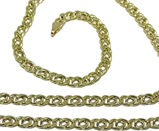 Collana in oro giallo per uomo, 4 mm di larghezza e 60 cm di lunghezza, chiusura a moschettone