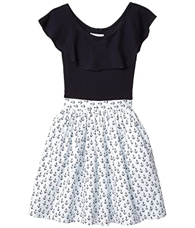 fiveloaves twofish Ruffle Collar Abbie Dress Anchors (Toddler/Little Kids/Big Kids) (Navy) Girl