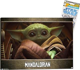 Star Wars Mandalorian Room Decoration Baby Yoda Poster - Deluxe Mounted Mandalorian Poster Baby Yoda Wall Art with Star Wa...