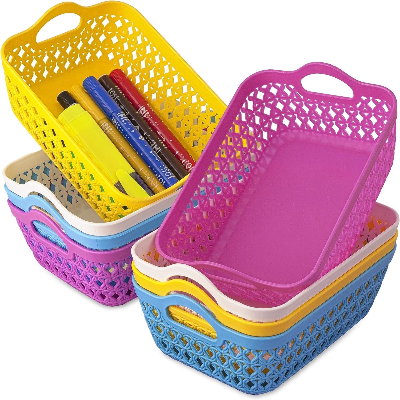 ELIFANA Small Plastic Baskets, Multicolored, 8 Pcs