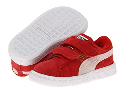 Puma Kids Suede 2 Straps (Toddler) (High Rick Red/White) Kids Shoes