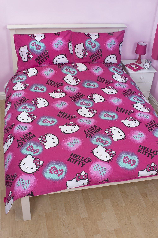 Copripiumino Lenzuola Reversibile Hello Kitty 1 Piazza E Mezza Amazon It Casa E Cucina