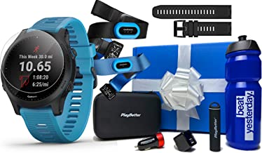 Garmin Forerunner 945 (Tri-Bundle) Beat Yesterday Gift Box Bundle | +Extra Band, Chest HRM-Tri & HRM-Swim, Screen Protectors, Garmin/PlayBetter Bottle, PlayBetter Portable Charger, Adapters & Case