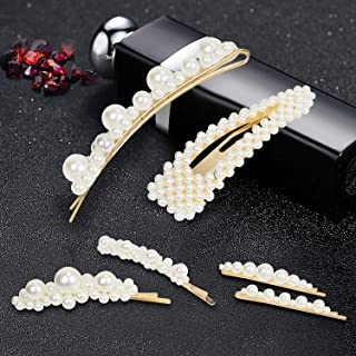 Hair-Clips,6Pcs Pearl Hair Clips for Women Girls,Elegant Handmade Hairpins Fashion Barrette Hair Accessories,Sweet Headwear Styling Tools for Holiday/Party/Wedding/Daily Life, Nice Gifts