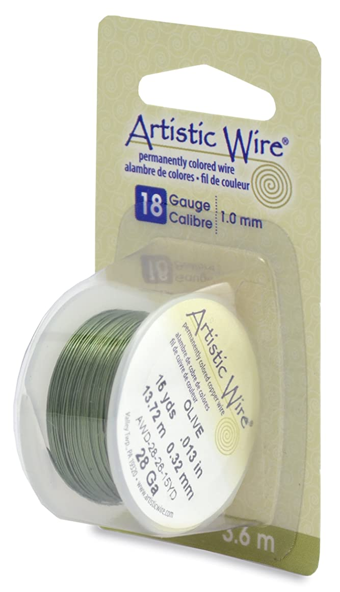 Artistic Wire AWD-18-26-04YD 18 Gauge Wire, Olive, 4-Yard