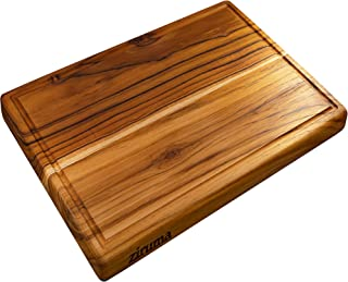 Large Teak Wood Cutting Board for Kitchen - Reversible with Juice Groove & Cured with Beeswax (17x11x1) Gift Box Included
