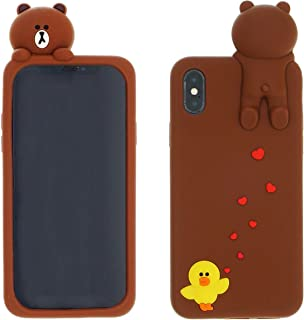 【CaserBay】 Compatible - iPhone Phone Case 3D Cute Cartoon Kawaii Animal Series Soft Silicone Rubber Case Cover【Bear & Sally, for 5.5