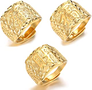 ● Gold Bless All ● Men's 18K Gold Plated Kanji Ring Rich/Luck/Wealth Set Size Adjustbale with Free GIftbox
