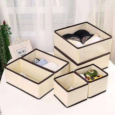 Qisiewell Boîte de rangement pour sous-vêtements et chaussettes - 6 tiroirs - Organiseur d'armoire - Boîte de rangement pliable pour chaussettes et cravates (beige marron)