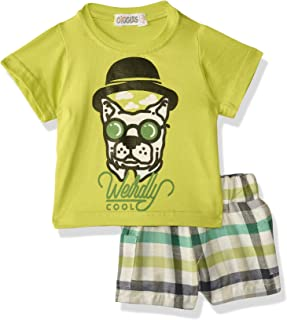 Giggles Printed Round Neck Short Sleeves T-Shirt with Plaid Elastic Waist Shorts Pajama Set for Boys - Multi Color, 18-24 ...