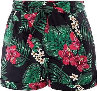 97f0412895 Belle Poque Femme Short d'Eté à Haut Taille Peu Elastique Pantalon Court  Décontracté pour