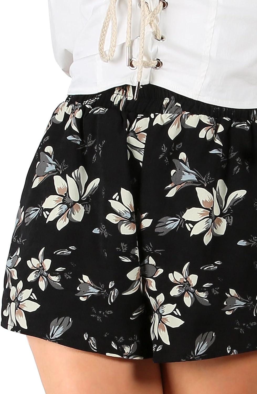Floerns Women's Flower Print Hot Summer Casual Beach Pockets Shorts Multi L