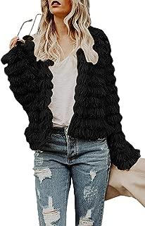 Womens Open Front Cardigan Faux Fur Coat Vintage Parka Shaggy Jacket Warm Coat Tops