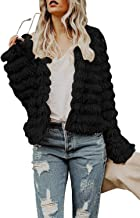 Inorin Womens Open Front Cardigan Faux Fur Coat Vintage Parka Shaggy Jacket Warm Coat Tops