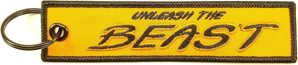 Big Rock Tags Custom Embroidered Unleash The Beast Bright Orange Key Chain