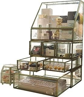Vintage Mirrorred Glass Makeup Organizer/Beauty Display/Palette Holder/Perfume Storage/Bathroom Countertop Organizer,Spacious Dustproof for Vanity/Desk/Lipstick/Skincare/Brushes