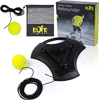 Elite Trainer Tennis Rebound Ball Set | Heavy Duty Power Base, No Filling Required | Two Tennis Balls, Long Elastic Rope, ...