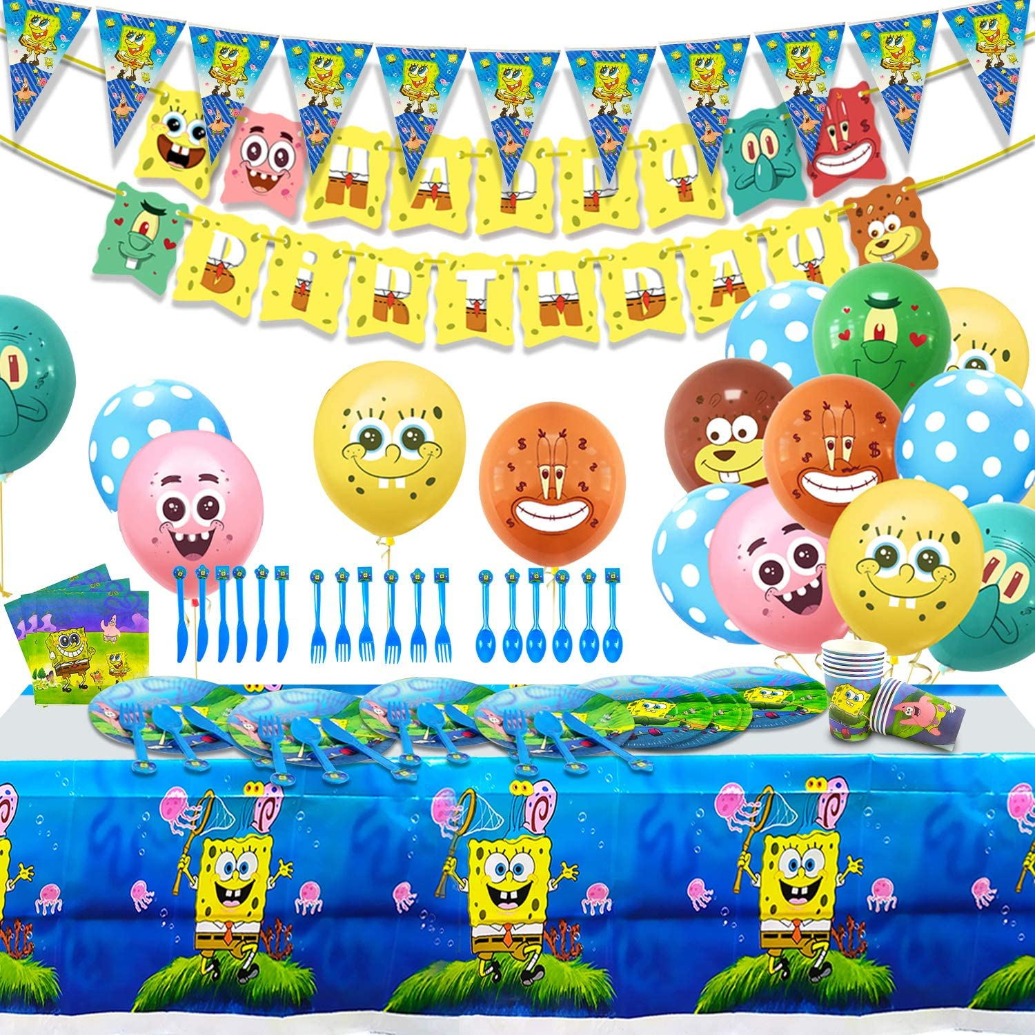 Spongebob Party Supplies 102 pcs Birthday Decorations for 10 Guest, Happy Birthday Banner,Birthday Party Balloons, Tablecover,Plates, Balloons