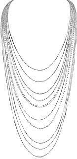 Humble Chic Layered Statement Necklace - Multi-Chain Waterfall Simulated Diamond Long Multistrand Chains Bib for Women - S...