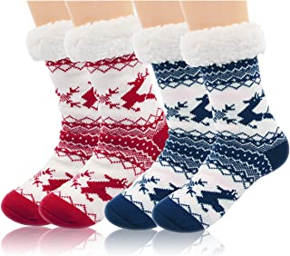 2 Pairs Womens Winter Fleece Lined Thermal Fuzzy Christmas Slipper Socks With Grippers