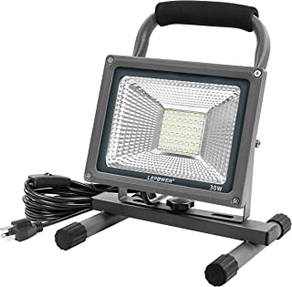 LEPOWER LED Work Light 30W, Portable Work Lights with Plug, IP66 Waterproof Outdoor Flood Light, 3000LM/6000K, Job Site Lighting with Stand for Workshop, Construction Site, Garage, Jetty (White Light)