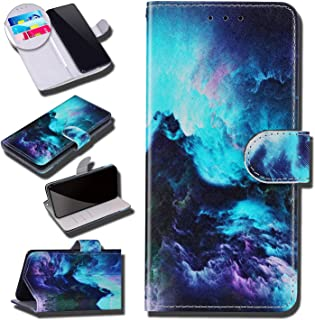 Urhause Case Compatibel met Galaxy S7 Case Glossy PU Lederen Portemonnee Cover met Kaartsleuven Cover Stormy Cartoon Porte...