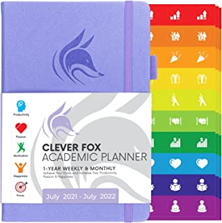 Clever Fox Academic Planner July 2021-July 2022 – Dated Weekly & Monthly Organizer to Boost Productivity, Stay Focused & R...