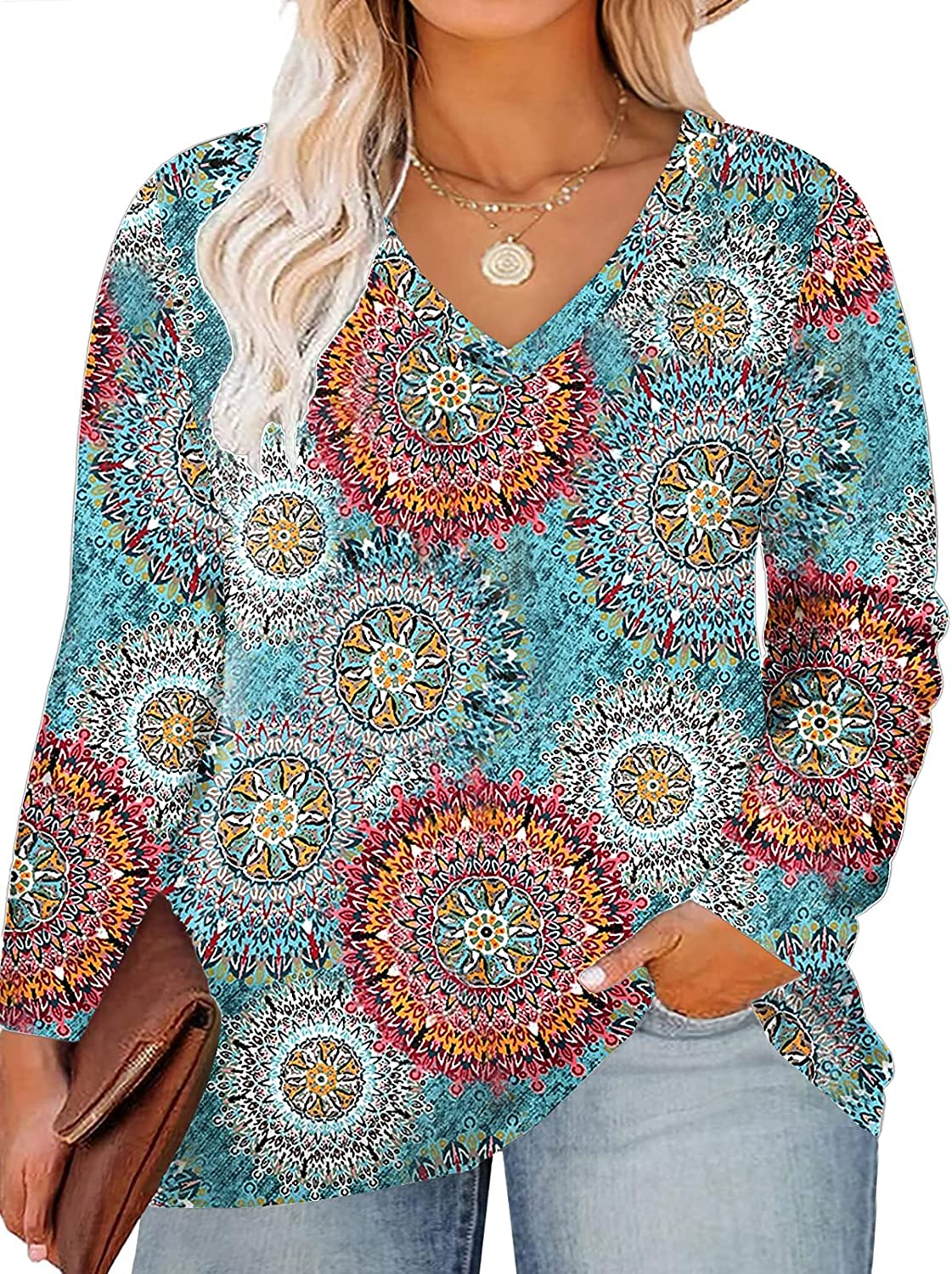 ROSRISS Plus Size Tops for Women Long Sleeve Tees V Neck Tunics Solid Color Blouse T Shirts