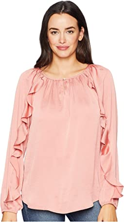 Hammered Satin Long Sleeve Blouse