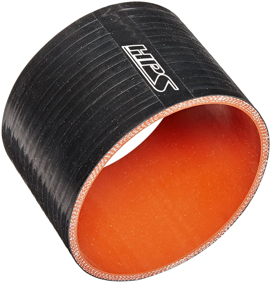 HPS HTSC-400-BLK Silicone High Temperature 4-Ply Reinforced Straight Coupler Hose, 65 PSI Maximum Pressure, 3