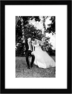 Americanflat 12x16 Black Picture Frame - Display Pictures 8x12 with Mat - Display Pictures 12x16 without Mat - Glass Front - Hanging Hardware Included