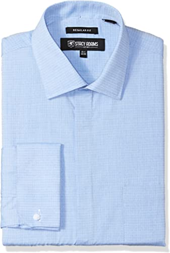 Stacy Adam's Hommes's Tonal Dobby Classic Fit Robe Shirt, bleu, 16.5  Neck 32-33  Sleeve