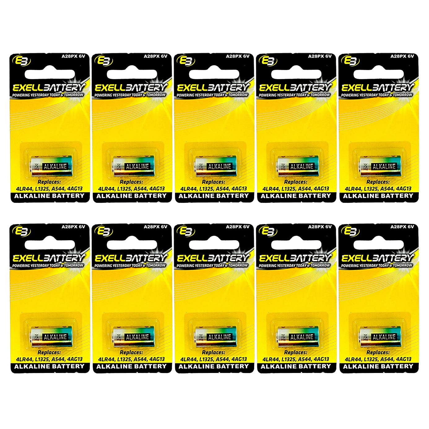 10x Exell A28PX Alkaline 6V Battery Replaces PX28A, A544, 4LR44, K28A, V34PX, 7H34, 4NZ13, V4034PX, L1325, 4G13, 4034PX, PX28AB, 1414A For LED Lights FAST USA SHIP rdh6482432