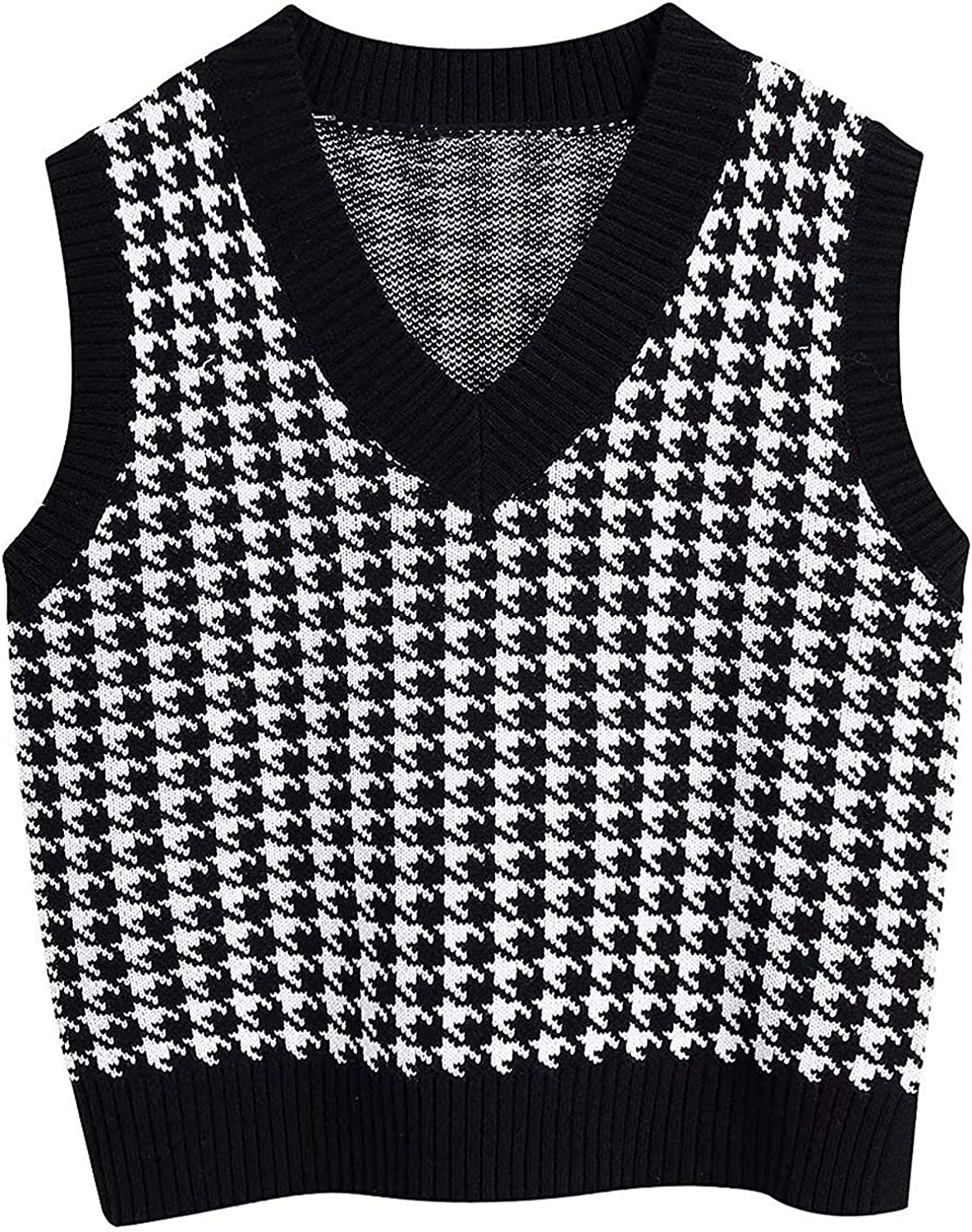 Women Knitted Vest Sweater V Neck Sleeveless Tank Tops Waistcoat 90s Classic Houndstooth Print Pullover Knitwear