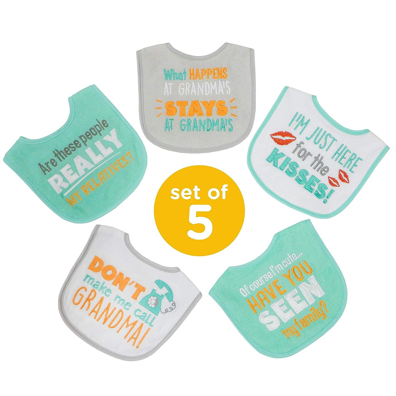 Neat Solutions Attitude Sayings Knit Terry Bib Set, Grandma & Relatives, 5Piece Set