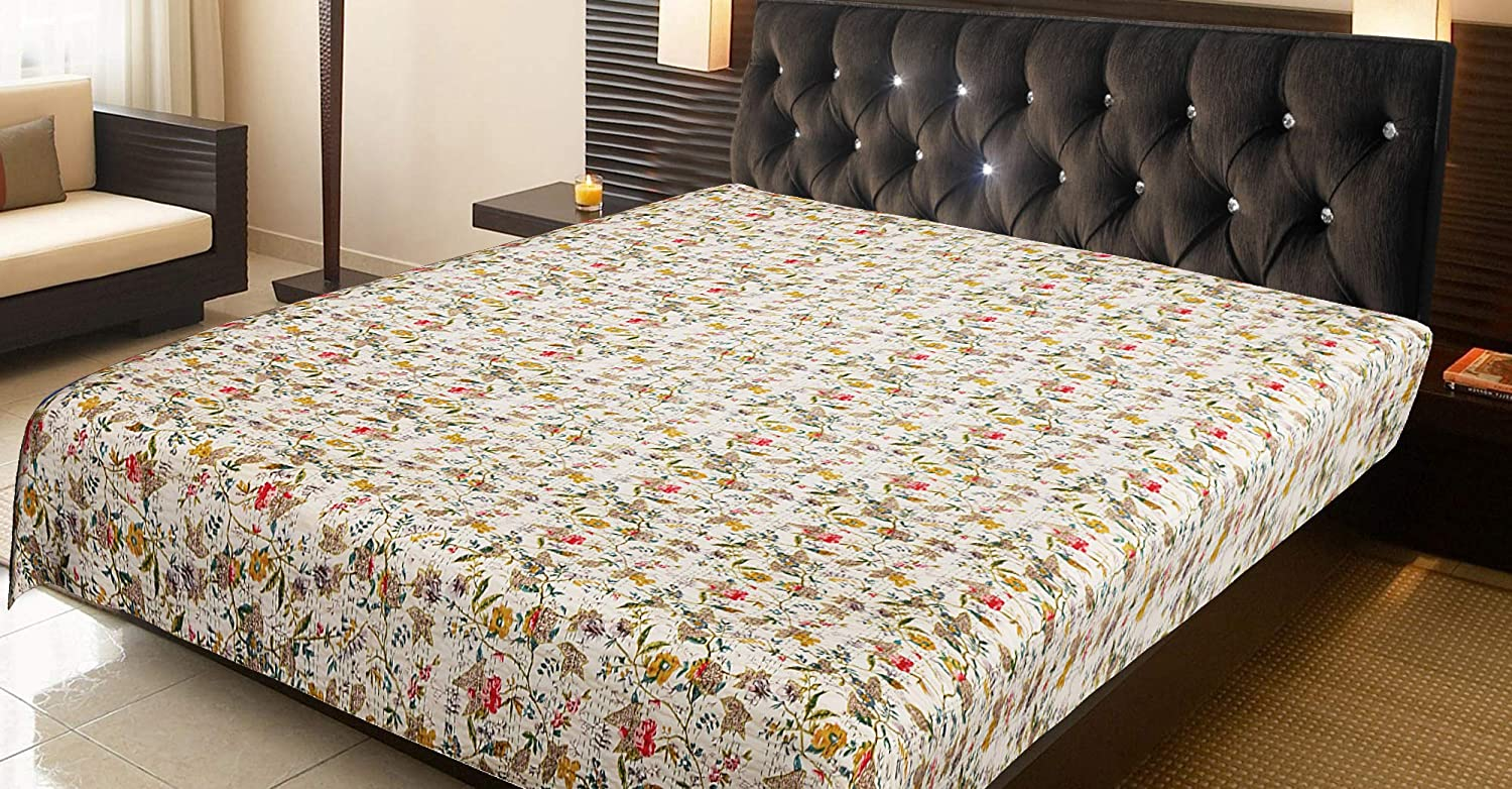 My Limited time sale Creation White Floral Printed Quilts Blankets Ki Free shipping Throw Kantha
