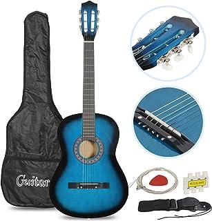 """Smartxchoices Guitar Acoustic برای مبتدیان مبتدی موسیقی دوست داشتنی کودکان و نوجوانان هدایای بچه گانه 38 """"گیتار آکوستیک مبتدی 6 رشته ای با رشته های گیگ ، تسمه ، تیونر و انتخاب (آبی)"""