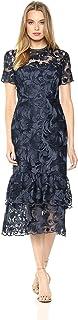 فستان تريا للنساء من شوشانا بأكمام قصيرة من طبقتين