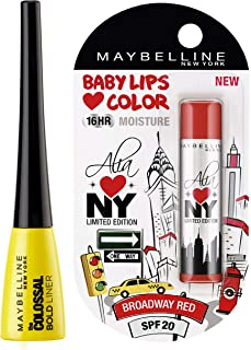 Maybelline New York Colossal Bold Eyeliner, Black, 3G And Maybelline Baby Lips Alia Loves New York, Broadway Red, 4G