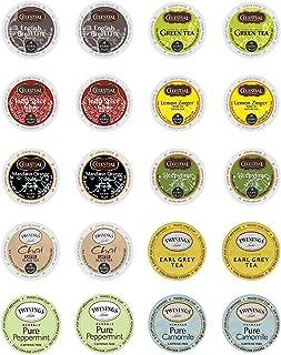 Twinings & Celestial Seasonings Hot Tea Variety Single Serve Sampler Pack - 20 Count/10 Flavors Per Box