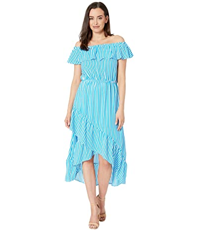 Tommy Bahama Palm Party Over the Shoulder Midi Dress (Azure) Women