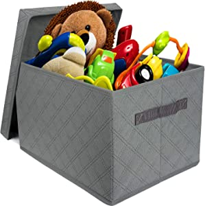 Storage Box with Lid, Foldable Storage Box Perfect for Toy Storage, Books, DVDs and Clothing Storage, Toy Storage Box Suitable for Kids and Adult at School/Office/Home Closet Organizer
