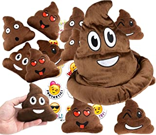4E's Novelty Emoji Poop Pillow Party Favors for 12 - 12 Small Emoji Pillows (5 inch) and 1 Emoji Poop Plush hat and 1 Pack of 12 Emoji Stickers