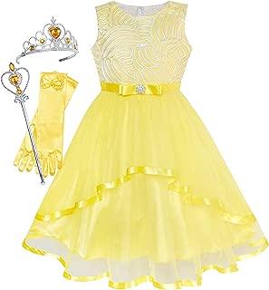 Sunny Fashion Vestidos Meninas Flor Azul Com cinto Casamento Festa Dama de honra 4-12 anos