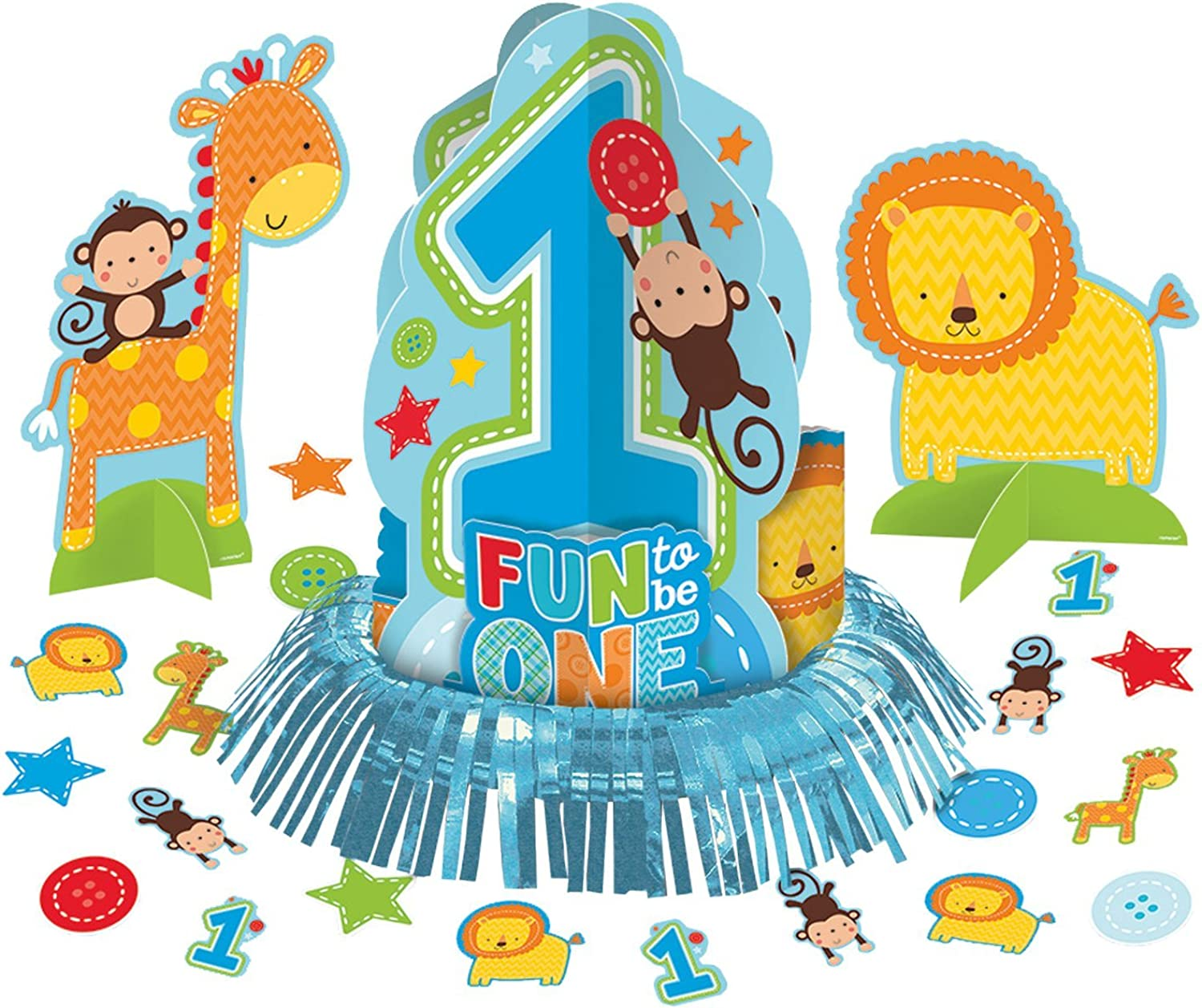 23 Piece Wild Fun To Be One bluee Boy's 1st Birthday Party Table Decorating Kit