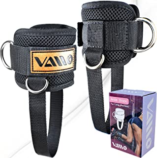 VAIIO Adjustable Comfort fit Neoprene Ankle Straps for Cable Machines 5 D-Ring Design & Extra Strap - Premium Ankle Cuffs ...