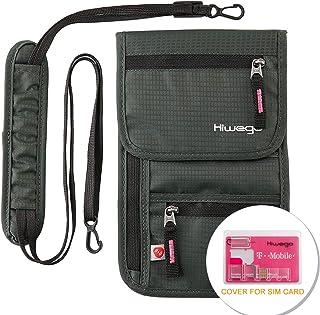 Travel Neck Pouch Hidden Passport Holder Wallet RFID Blocking/Neck Stash for Men Women (Dark Grey)