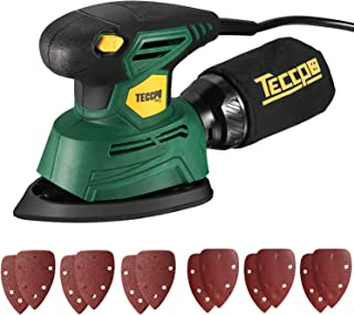Mouse Detail Sander, TECCPO 14,000 OPM Sander with 12 Pcs Sandpapers(60& 120 Grits), Recyclable Dust Collection Bag, for Tight Spaces Sanding, Perfect for DIY, Home Decoration- TAMS22P