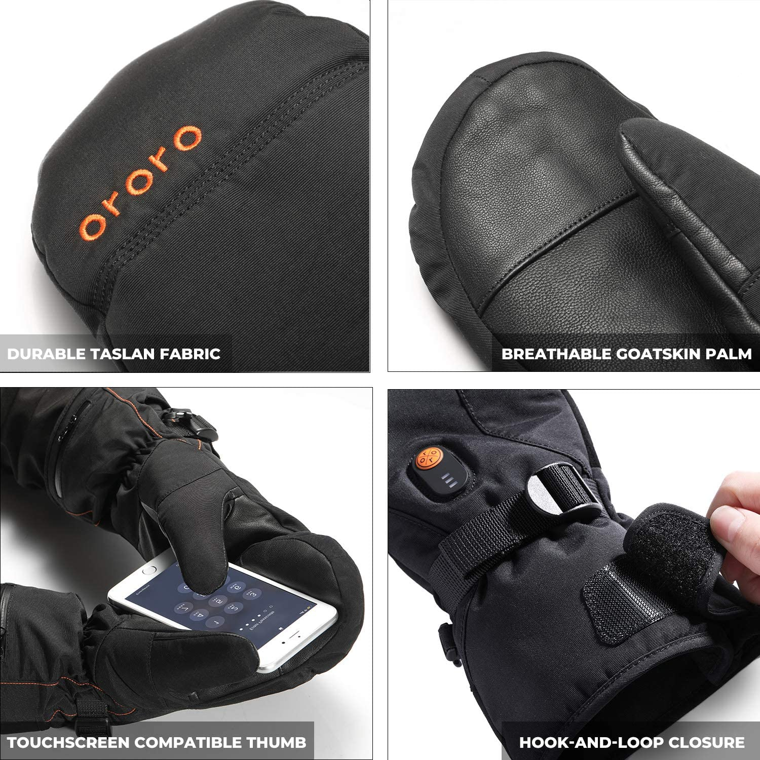 ORORO Heated Mittens for Women and Men, Rechargeable Heated Gloves for Skiing Hiking and Arthritic Hands