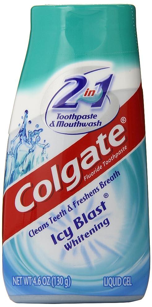 マザーランドかどうかセットアップColgate 2-IN-1ホワイトニング歯磨き粉ゲルうがい薬、氷ブラスト - 4.6オンス 4.6オンス